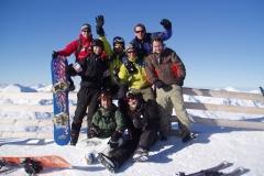 Snowboarders groepsfoto